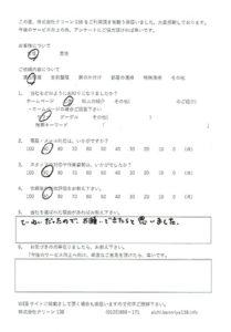 愛知県名古屋市 遺品整理をご依頼のアンケート
